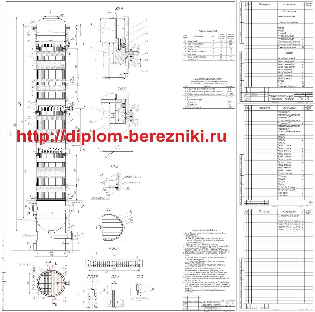Чертеж ректификационной колонны с ситчатыми тарелками