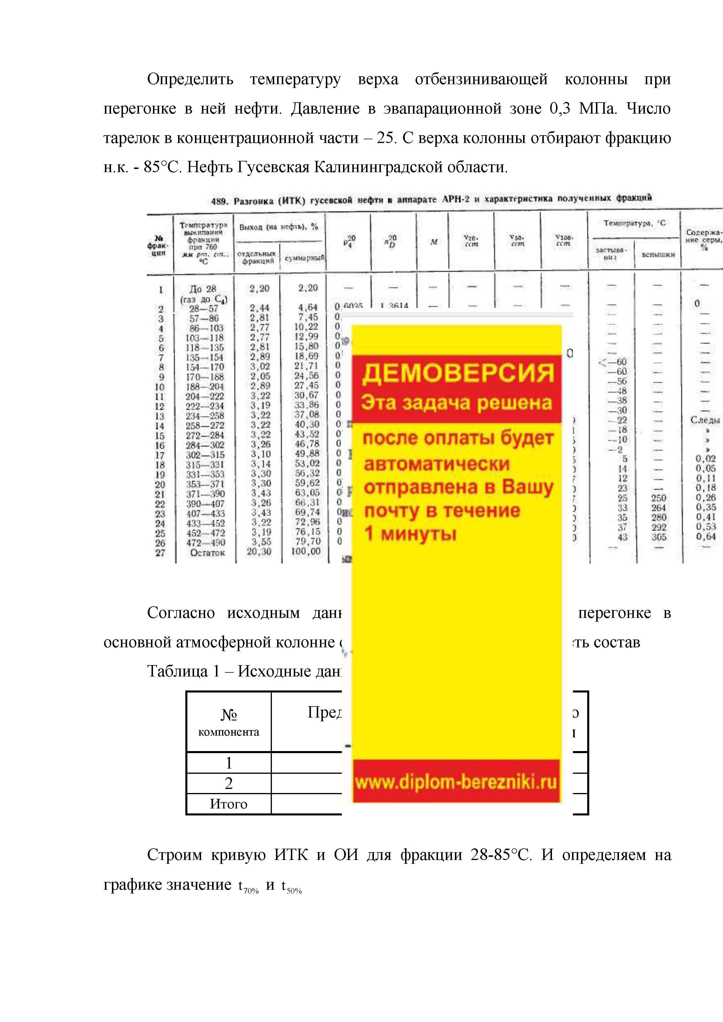 Определить температуру верха колонны